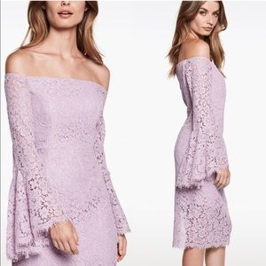 BARDOT REVOLVE Solange Lace Bell Sleeve Midi Dress Lilac Lavender